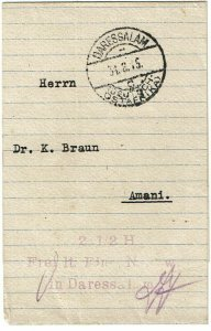 German East Africa 1915 Dar-es-Salaam cancel on wrapper, 2 1/2h postpaid h/s