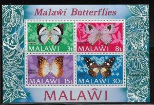 MALAWI, 202A, MNH, SS OF 4 , BUTTERFLIES