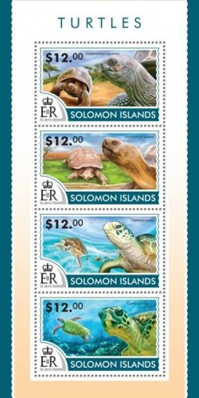Solomon Islands - 2015 Turtles on Stamps - 4 Stamp Sheet - 19M-741