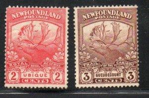 Newfoundland Sc 116-7 1919 2 & 3 c Caribou stamps mint