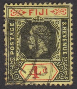 Fiji KGV - 1914 - 4d Black Red/Yellow stamp - Cat.131 used