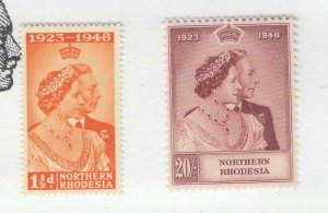 NORTHERN RHODESIA # 41-44 VF-MNH 1948 KGV1 XILVER WEDDING