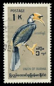 Burma #206 Malabar Pied Hornbill; Used (1.25)