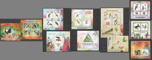 PE260,341,476,514,600,645,1018 2013-2015 PARROTS BIRDS FAUNA 4KB+7BL MNH