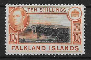 FALKLAND ISLANDS SG162a 1942 10/= BLACK & ORANGE MTD MINT