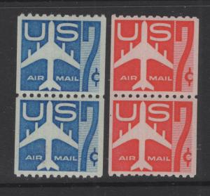 US 1958-60 Air Mail Jet Airliner Coil Stamps Vertical Pr. C52 & C61 4 Stamps MNH