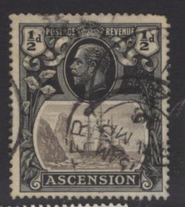 ASCENSION SG10 1924 ½d GREY-BLACK & BLACK USED PERF FAULT