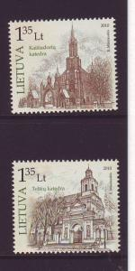 Lithuania Sc 926-7 2010 Cathedrals stamp set mint NH