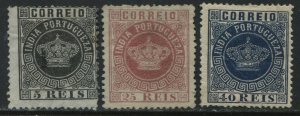 Portuguese India 1877 5, 25, and 40 reis mint o.g. hinged