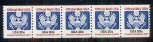 US #O135 20¢ Official PNC #1 strip of 5, og, NH, VF, Scott $57.50