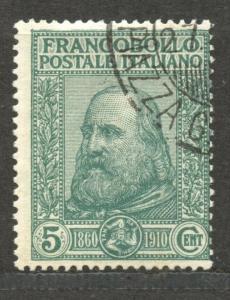 Italy,  1910 Garibaldi, 5 C., VF ++ used, Scott # 115