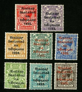 Ireland Stamps # 1-8 VF OG Hinged Catalog Value $86.75