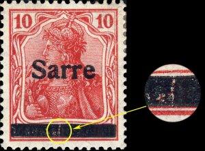 SARRE / SAARGEBIET - 1920 Mi.6.I 10pf O/P type 1 - variety I.PF.A - Mint*