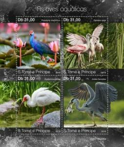 St Thomas - 2019 Water Birds - 4 Stamp Sheet - ST190206a