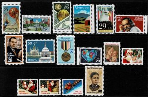 1991 United States Group of 16 Commemorative Stamps Unused Never Hinged