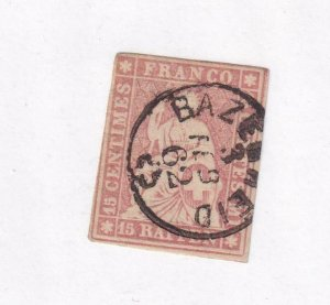 SWWITZERLAND # 38a IMPERF WITH SON DATED TOWN CANCEL CAT VAL $72.50