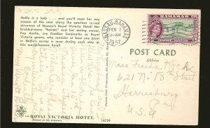 Bahamas 163 on Postmarked 1957 Nassau Bahamas Postcard