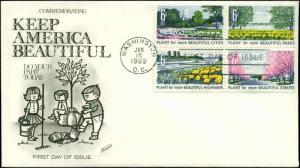 US FDC #1368a Block of 4 Fleetwood Cachet Washington, DC Keep America Beautiful
