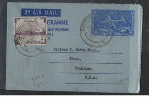 PAKISTAN  (P0209B) 1959 2A AEROGRAM+8A TEMPORARY CANCEL TO USA