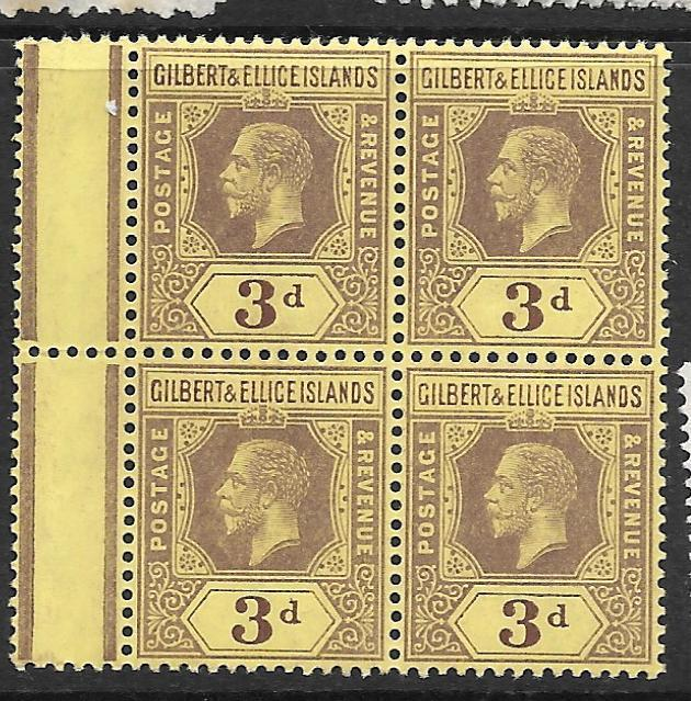 GILBERT AND ELLICE ISLANDS   (P1010B) KGV 3D  SG 16 BL OF 4    MNH