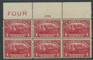 #Q4 4c 1913 TOP PLATE BLOCK W/ IMPRINT (VF NH) MINOR SEPS CV $1,750 WLN414