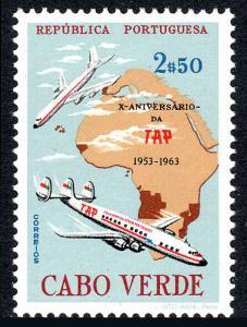Cape Verde 327, MNH. Transportes Aereos Portugueses, 10th anniv. Jet Liner, 1963