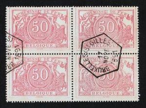 BELGIUM 1882 SCOTT #Q11 PARCEL POST 50C BLK OF 4