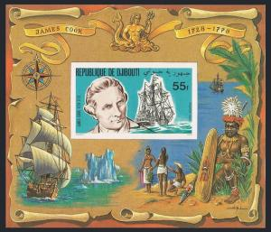 Djibouti 519a,520a imperf deluxe,MNH.Mi Bl.27B-28B. Capt James Cook,Endeavor,Map