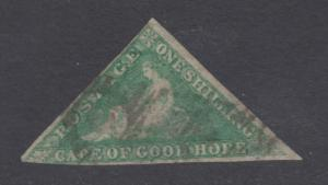 Cape of Good Hope Sc 15, SG 21, used. 1863 1sh emerald Hope Seated triangular