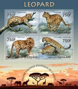 Togo - 2013 Leopards on Stamps - 4 Stamp  Sheet - 20H-547