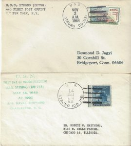 US Naval Cover USS Strong DD 758  1964, 1949 Recommissioning
