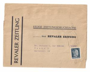 Germany: Wrapper w Michel #3 OSTLAND overprint circa 1943 to Posen
