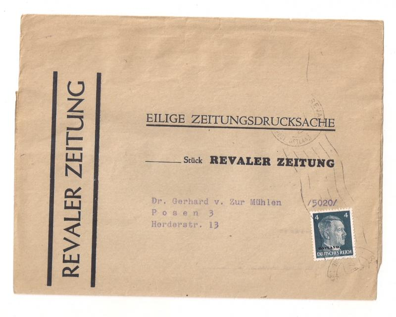 Germany: Wrapper w Michel #3 OSTLAND overprint circa 1943 to Posen