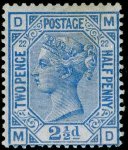 SG157, 2½d blue plate 22, M MINT. Cat £450. MD