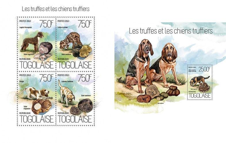 Dogs Hunde Truffes Mushrooms Pilze Champignons Animals Fauna Togo MNH stamp set