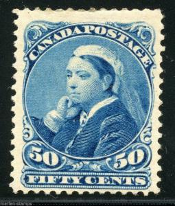 CANADA 50 cent QUEEN VICTORIA SCOTT#47 GIBBONS#116 MINT HINGED FULL ORIGINAL GUM