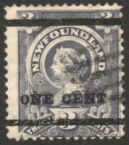 NEWFOUNDLAND-1897 1c on 3c Grey-Purple Sg 80 AVERAGE MOUNTED MINT V46353