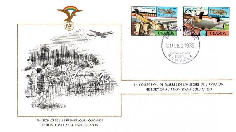Uganda, Worldwide First Day Cover, Aviation