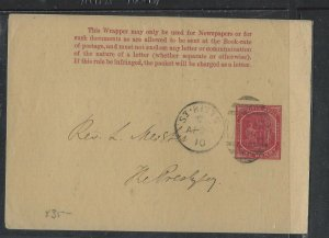 ST KITTS NEVIS  (P2102B)  1910  COLUMBUS 1D PS WRAPPER SENT