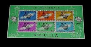 ANGUILLA, #204a, 1974, UNIVERSAL POSTAL UNION, SOUVENIR SHEET, MNH, LQQK