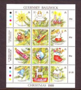 Guernsey Sc 421 1989 Christmas  stamp sheet mint NH