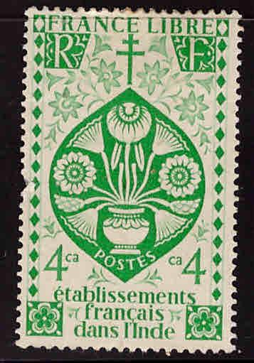 FRENCH INDIA  Scott 145 MH* Lotus Flower stamp