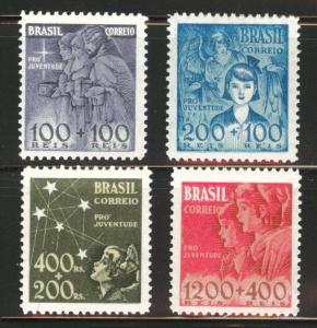 Brazil Scott B8-11 MH* 1939-40 Semi-Postal set CV$12