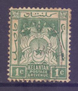 Malaya Kelantan Scott 14 - SG14, 1921 Script CA 1c Green used