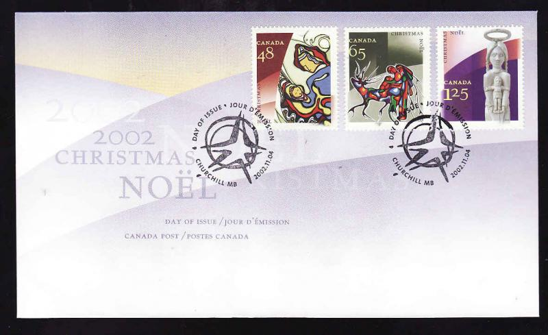 Canada-Sc#1965-7-stamps on FDC-Christmas-Aboriginal Art-2002-
