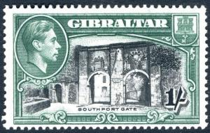 GIBRALTAR-1938-51 1/- Black & Green Perf 13½ lightly mounted mint  Sg 127a
