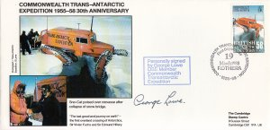 British Antarctic Territory FDC Sc 148 Signed George Lowe Cachet Sno-Cat over...