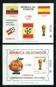 x632 - ECUADOR Soccer World Cup in Spain 1982 Set of (2) Souvenir Sheets. MNH