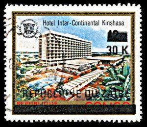 Zaire 859, used, Surcharge on Kinshasa Hotel issue