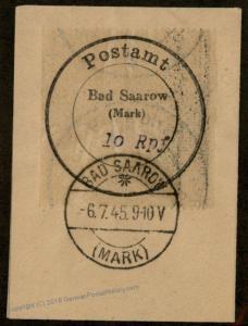 Germany 1945 Local Bad Saarow SBZ Soviet Zone Mi1I Used 87037